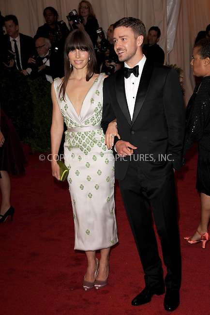 "WWW.ACEPIXS.COM . . . . . .May 7, 2012...New York City....Jessica Biel and fiance Justin Timberlake attending the ""Schiaparelli and Prada: Impossible Conversations"" Costume Institute Gala at The Metropolitan Museum of Art in New York City on May 7, 2012  in New York City ....Please byline: KRISTIN CALLAHAN - ACEPIXS.COM.. . . . . . ..Ace Pictures, Inc: ..tel: (212) 243 8787 or (646) 769 0430..e-mail: info@acepixs.com..web: http://www.acepixs.com ."