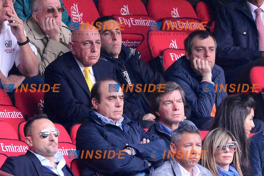 """Adriano Galliani in tribuna.Milano 22/4/2012 Stadio """"Giuseppe Meazza - San Siro"""".Football Calcio 2011/2012 Serie A.Milan Vs Bologna.Foto Insidefoto Andrea Staccioli"""