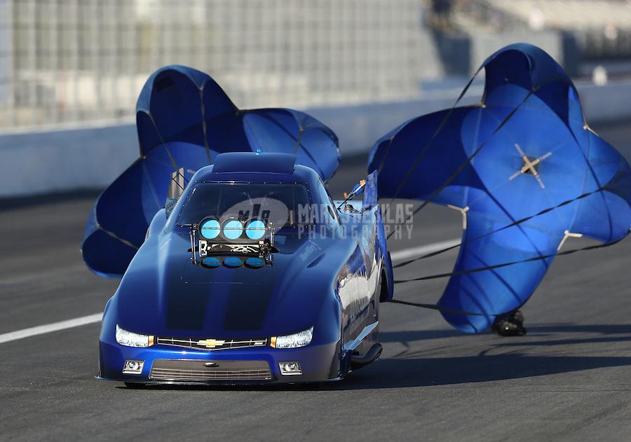 Nov 11, 2016; Pomona, CA, USA; NHRA top alcohol funny car driver Clint Thompson during qualifying for the Auto Club Finals at Auto Club Raceway at Pomona. Mandatory Credit: Mark J. Rebilas-USA TODAY Sports
