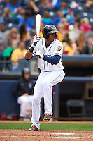 Akron RubberDucks shortstop Erik Gonzalez (10) squares to bunt during a game against the New Britain Rock Cats on May 21, 2015 at Canal Park in Akron, Ohio.  Akron defeated New Britain 4-2.  (Mike Janes/Four Seam Images)