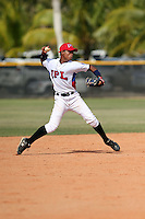 Jensy Veloz participates in the International Prospect League Showcase at the New York Yankees academy in Boca Chica, Dominican Republic on January 24, 2014 (Bill Mitchell)