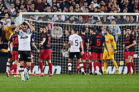 14th February 2020; Mestalla, Valencia, Spain; La Liga Football,Valencia versus Atletico Madrid; Jose Gaya of Valencia CF reacts after missing a good goal scoring chance