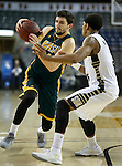 RAPID CITY, SD - FEBRUARY 24, 2016 -- Nick Ongarato #2 of Black Hills State drives past Jaisean Jackson #5 of South Dakota Mines during their college basketball game Wednesday at the Rushmore Plaza Civic Center Ice Arena, S.D.  (Photo by Dick Carlson/Inertia)