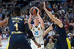 Real Madrid Jaycee Carroll and Fenerbahce Dogus Jason Thompson and Marko Guduric during Turkish Airlines Euroleague match between Real Madrid and Fenerbahce Dogus at Wizink Center in Madrid , Spain. March 02, 2018. (ALTERPHOTOS/Borja B.Hojas)