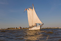 Historic Tall Ship, A.J. Meerwald, sailing on the Delaware Bay, Cumberland County, New Jersey