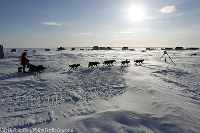 Tuesday March 13, 2012  Dallas Seavey on the sea ice just before arriving in Nome. Dallas Seavey, at age 25, was the first musher to arrive in Nome. Iditarod 2012.