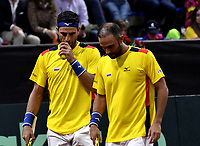 BOGOTA-COLOMBIA, 07-03-2020: Sebastian Cabal, Robert Farah de Colombia, durante partido de dobles de los enfrentamientos para Las clasificatorias Copa Davis by Rakuten 2020 entre Colombia y Argentina en el Palacio de los Deportes en la ciudad de Bogota. / Sebastian Cabal, Robert Farah of Colombia, during matches of the clashes for the Davis Cup by Rakuten 2020 qualifiers between Colombia and Argentina at the Palacio de los Deportes in Bogota city. / Photo: VizzorImage / Luis Ramirez / Staff.