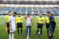 San Jose, CA - Saturday May 05, 2018: Diego Valeri, Christopher Penso, Chris Wondolowski during a Major League Soccer (MLS) match between the San Jose Earthquakes and the Portland Timbers at Avaya Stadium.