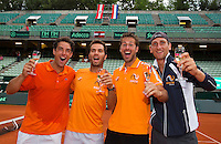 Austria, Kitzb&uuml;hel, Juli 19, 2015, Tennis,  Davis Cup, The Dutch team celebrates, ltr: Jesse Huta Galung, Jean-Julien Rojer, Robin Haase and Thiemo de Bakker<br /> Photo: Tennisimages/Henk Koster