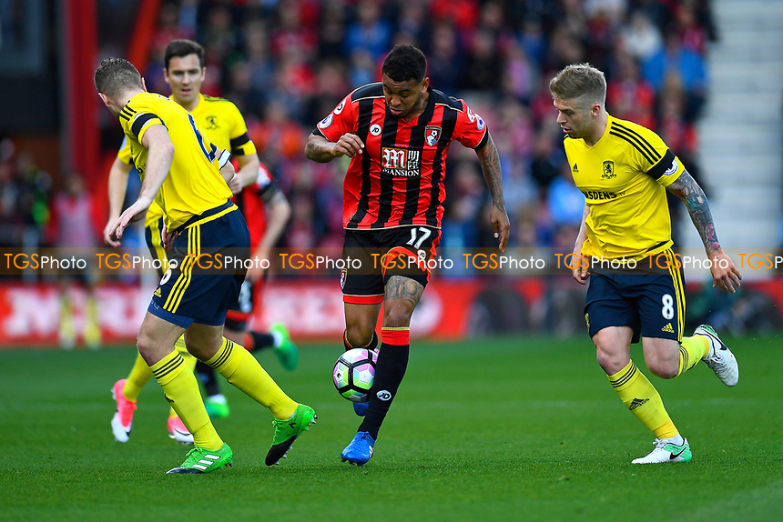 Joshua King of AFC Bournemouth takes on three Middlesbrough defenders during AFC Bournemouth vs Middlesbrough, Premier League Football at the Vitality Stadium on 22nd April 2017
