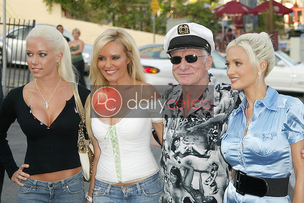 Kendra Wilkinson and Bridget Marquardt with Hugh Hefner and Holly Madison<br />