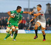 9th September 2017, Galway Sportsground, Galway, Ireland; Guinness Pro14 Rugby, Connacht versus Southern Kings; Jarrad Butler (Connacht) holds off a challenge from Dries van Schalkwyk  (Southern Kings)