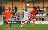 Blackpool's Nathan Delfouneso scores his team's opening goal<br /> <br /> Photographer Dave Howarth/CameraSport<br /> <br /> Football Pre-Season Friendly - AFC Fylde v Blackpool - Tuesday July 16th 2019 - Mill Farm - Fylde<br /> <br /> World Copyright © 2019 CameraSport. All rights reserved. 43 Linden Ave. Countesthorpe. Leicester. England. LE8 5PG - Tel: +44 (0) 116 277 4147 - admin@camerasport.com - www.camerasport.com