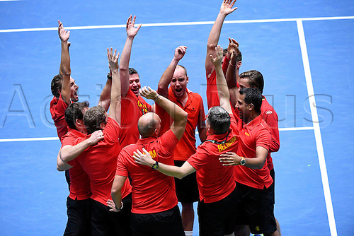 5th February 2017, Fraport Arena, Frankfurt, Germany; Davis Cup World Group 1st Round; Germany versus Belgium; Steve Darcis of Belgium celebrates with his team after winning his match against Alexander Zverev of Germany; Belgium won the match 4-1 to progress to the next round