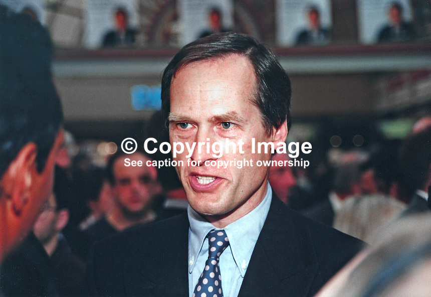 Alan Howarth, MP, Labour Party, UK, previously Conservative MP, 19961006AH1.<br /> <br /> Copyright Image from Victor Patterson, 54 Dorchester Park, Belfast, UK, BT9 6RJ<br /> <br /> t1: +44 28 9066 1296 (from Rep of Ireland 048 9066 1296)<br /> t2: +44 28 9002 2446 (from Rep of Ireland 048 9002 2446)<br /> m: +44 7802 353836<br /> <br /> e1: victorpatterson@me.com<br /> e2: victorpatterson@gmail.com<br /> <br /> The use of my copyright images is subject to my Terms &amp; Conditions.<br /> <br /> It is IMPORTANT that you familiarise yourself with them. They are available on my website at www.victorpatterson.com.<br /> <br /> None of my copyright images may be used on a website unless they are visibly watermarked, i.e. &copy; Victor Patterson within the body of the visible image. Metadata denoting my copyright must NOT be deleted. <br /> <br /> Web use is extra at currently recommended NUJ rates.