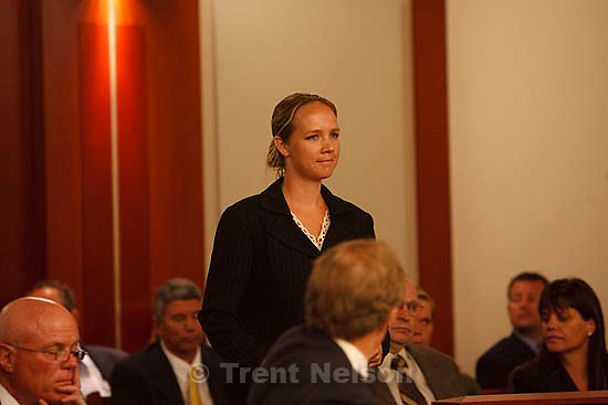 Salt Lake City -  hearing held in the Matheson Courthouse Wednesday, July 29, 2009 to decide on the sale of the Berry Knoll property in the United Effort Plan (UEP) land trust..geneve hainline, genevive