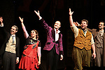 Jonathan Sayer, Nancy Zamit, Greg Tannahill, Henry Lewis, Henry Shieldsfrom the cast of 'The Play That Goes Wrong' during the Broadway Opening Night curtain call bows at the Lyceum Theatre on April 2, 2017 in New York City.