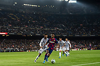 29th October 2019; Camp Nou, Barcelona, Catalonia, Spain; La Liga Football, Barcelona versus Real Valladolid; Ansu Fati holds the ball in the corner against Valladolid<br /> <br />  - Editorial Use
