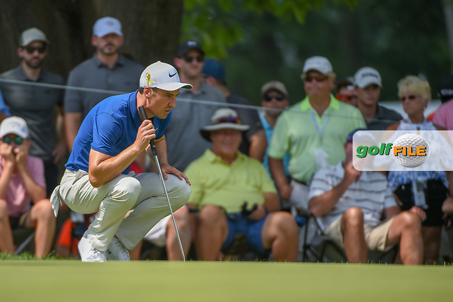 Ross Fisher (ENG) lines up his eagle putt on 2 during 4th round of the World Golf Championships - Bridgestone Invitational, at the Firestone Country Club, Akron, Ohio. 8/5/2018.<br /> Picture: Golffile | Ken Murray<br /> <br /> <br /> All photo usage must carry mandatory copyright credit (© Golffile | Ken Murray)