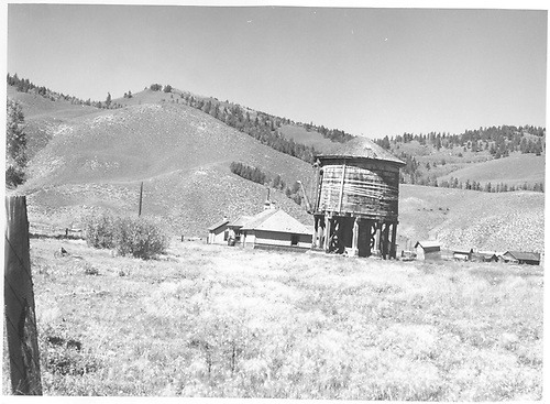 Abandoned D&amp;RGW buildings and water tank at Sargent west of Marshall Pass.  Rails taken up August 1955.<br /> D&amp;RGW  Sargent, CO  9/13/1971