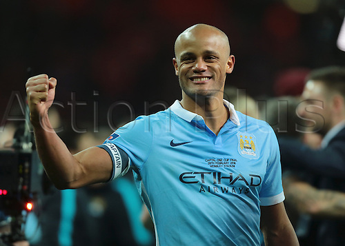 28.02.2016. Wembley Stadium, London, England. Capital One Cup Final. Manchester City versus Liverpool. Manchester City Defender Vincent Kompany punches the air after winning the Capital One Cup Final