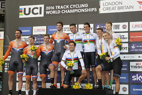 02.03.2016. Lee valley Velo Centre. London England. UCI Track Cycling World Championships Men&rsquo;s team sprint.  Podium winners Team Holland Netherlands<br /> VAN T HOENDERDAAL Nils - HOOGLAND Jeffrey - BUCHLI Matthijs - Team New Zealand MITCHELL Ethan - WEBSTER Sam - DAWKINS Edward<br /> Team Germany - ENDERS Rene - NIEDERLAG Max - EILERS Joachim