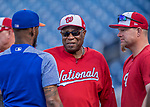 28 April 2017: Washington Nationals Manager Dusty Baker chats during batting practice prior to a game against the New York Mets at Nationals Park in Washington, DC. The Mets defeated the Nationals 7-5 to take the first game of their 3-game weekend series. Mandatory Credit: Ed Wolfstein Photo *** RAW (NEF) Image File Available ***