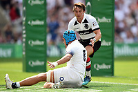 Zach Mercer of England scores a try in the first half. Quilter Cup International match between England and the Barbarians on May 27, 2018 at Twickenham Stadium in London, England. Photo by: Patrick Khachfe / Onside Images
