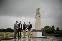 With this years TdF edition in remembrance of World War 1, members of ASO (under which 5x TdF winner Bernard Hinault &amp; double TdF winner Bernard Th&eacute;venet) go to pay their respects at the war cemetery where todays stage  will also officially start in front of (just a few minutes later).<br /> <br /> 2014 Tour de France<br /> stage 5: Ypres/Ieper (BEL) - Arenberg Porte du Hainaut (155km)