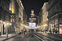 - Milan, Dante street and Sforzesco Castle....- Milano, via Dante e Castello Sforzesco