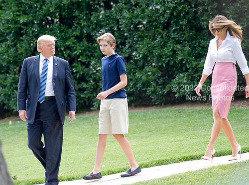 United States President Donald J. Trump accompanied by first lady Melania Trump and son Barron depart the White House in Washington, DC for a weekend in Westminster, NJ on Friday, June 30, 2017. <br /> Credit: Ron Sachs / CNP