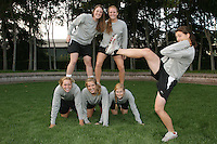 STANFORD, CA - NOVEMBER 4:  Annie Read, Ashley Aruffo, Leslie Foard, Karen Nesbitt, Sarah Flynn and Maggie Sachs of the Stanford Cardinal lacrosse team pose during picture day on November 4, 2008 in Stanford, California.