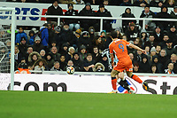 Danny Hylton of Luton Town pulls one back for Luton Town during Newcastle United vs Luton Town, Emirates FA Cup Football at St. James' Park on 6th January 2018