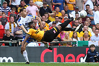 Jamille Matt of Newport County tries a spectacular shot at the Tranmere goal, as defender, Sid Nelson looks on during Newport County vs Tranmere Rovers, Sky Bet EFL League 2 Play-Off Final Football at Wembley Stadium on 25th May 2019