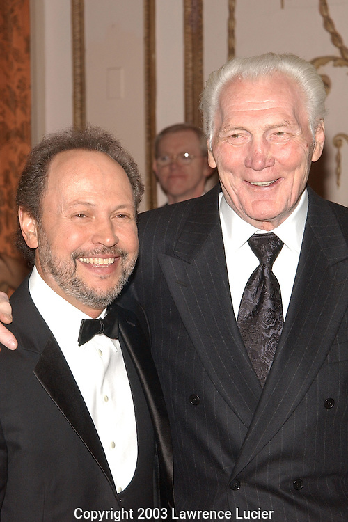 NEW YORK-FEBRUARY 12: Actors Billy Crystal (R) and Jack Palance arrive at the American Museum of the Moving Image Salute to Billy Crystal at the Waldorf=Astoria February 12, 2003, in New York City.