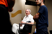 Conductor Arthur Fagen shares a laugh as he prepares to rehearse with Valerio Lisci from Italy, right, for the Final Stage concert at the 11th USA International Harp Competition at Indiana University in Bloomington, Indiana on Friday, July 12, 2019. (Photo by James Brosher)