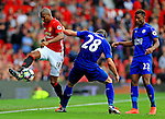 Ashley Young of Manchester United takes on Christian Fuchs of Leicester City during the Premier League match at Old Trafford Stadium, Manchester. Picture date: September 24th, 2016. Pic Sportimage