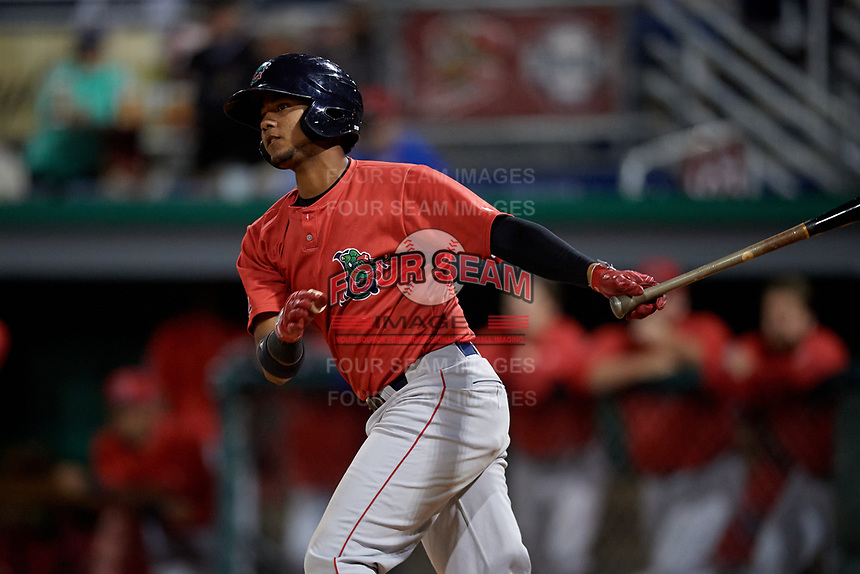 Lowell Spinners Antoni Flores (19) bats during a NY-Penn League Semifinal Playoff game against the Batavia Muckdogs on September 4, 2019 at Dwyer Stadium in Batavia, New York.  Batavia defeated Lowell 4-1.  (Mike Janes/Four Seam Images)