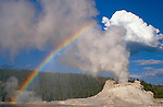 Castle Geyser with Rainbow, Yellowstone National Park, Wyoming.