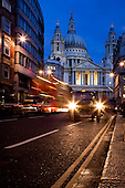 Taxi and Traffic Trails at St Paul's Cathedral, London