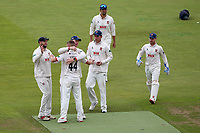 Jamie Porter of Essex celebrates with his team mates after taking the wicket of Sam Hain during Warwickshire CCC vs Essex CCC, Specsavers County Championship Division 1 Cricket at Edgbaston Stadium on 11th September 2019