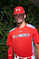 Will Banfield (11) of Brookwood High School in Lawrenceville, Georgia poses for a photo before the Under Armour All-American Game presented by Baseball Factory on July 29, 2017 at Wrigley Field in Chicago, Illinois.  (Mike Janes/Four Seam Images)
