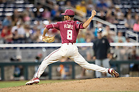 Florida State Seminoles pitcher JC Flowers (8) delivers a pitch to the plate during Game 9 of the NCAA College World Series against the Texas Tech Red Raiders on June 19, 2019 at TD Ameritrade Park in Omaha, Nebraska. Texas Tech defeated Florida State State 4-1. (Andrew Woolley/Four Seam Images)