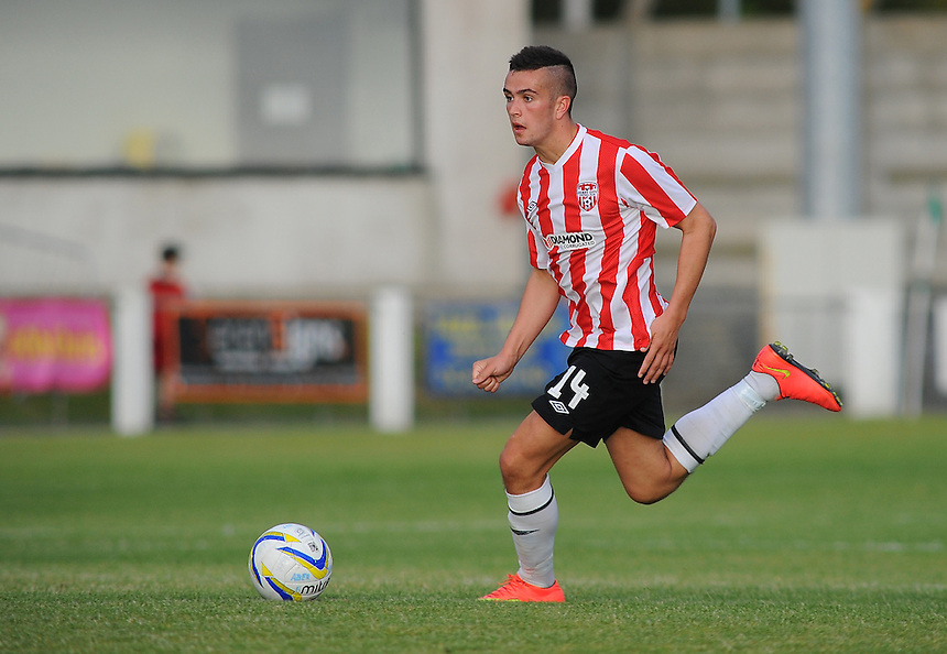 Derry City's Michael Duffy in action during todays match  <br /> <br /> Photographer Kevin Barnes/CameraSport<br /> <br /> Europa League - First Qualifying Round - Second Leg - Aberystwyth Town v Derry City - Thursday 10th July 2014 - Park Avenue - Aberystwyth<br /> <br /> &copy; CameraSport - 43 Linden Ave. Countesthorpe. Leicester. England. LE8 5PG - Tel: +44 (0) 116 277 4147 - admin@camerasport.com - www.camerasport.com