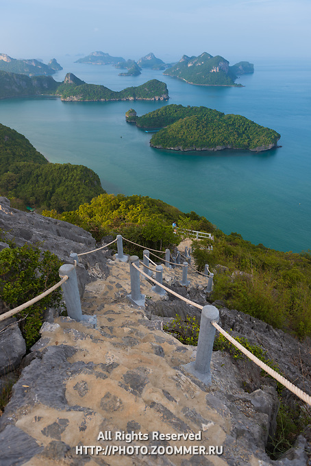 Hiking natural trail on top of Ko Wua Talap, one of Ang Thong national marine park islands, Thailand