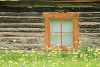 Window detail of a rustic log cabin, Eagle, Alaska