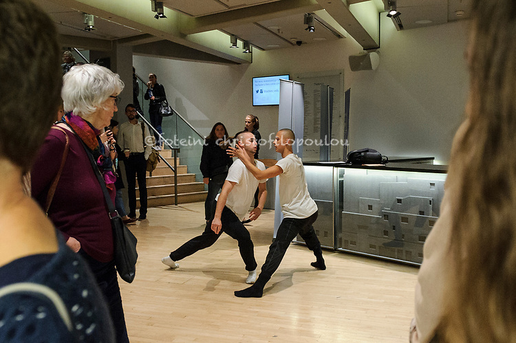 London, UK. 20.10.2017. Prelude: a joint initiative between Sadler's Wells and Dance Umbrella at Sadler's Wells. Choreographer:  Catarina Carvalho. Rehearsal director: Charlie George. Performers:  Alex Henderson, Ashton Hall, Dan Baines, Ethan Nott, Frank Quick, Irena Corsini, James Grant, Jitka Mamo, Jodie Bray, John Hodgson, Marcela Davies, Margaret Boden, Maria Locke, Maryse Hodgson, Monica Ryan, Myrna Paraan, Oscar Li, Robert Williamson, Sue Murphy, Teresa Matus, Veronica Franklin Gould. Photo - © Foteini Christofilopoulou.