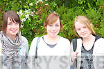 EXAM TIME: On their way in to sit their Leaving Cert exam at the Intermediate School, Killorglin, on Wednesday morning were April O'Shea and Clodagh Shannon, with Celina Carroll who was starting her Junior Cert.   Copyright Kerry's Eye 2008