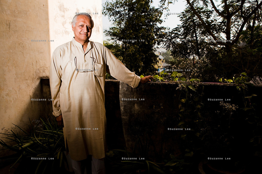 """Sanjit """"Bunker"""" Roy (b. 1945) is an Indian social activist and the founder of the Barefoot College (est. 1971) in Tilonia, Ajmer, Rajasthan, India. .The college takes men, women and children who are illiterate and semi-literate from the lowest castes, and from the most remote and inaccessible villages in India and other countries in Africa and South Asia, and trains them to become """"barefoot"""" water and solar engineers, architects, pathologists, midwives, accountants, and etc.. These villagers then work within their own communities, thus making them less dependent on """"outside"""" skills. Photo by Suzanne Lee for Panos London"""