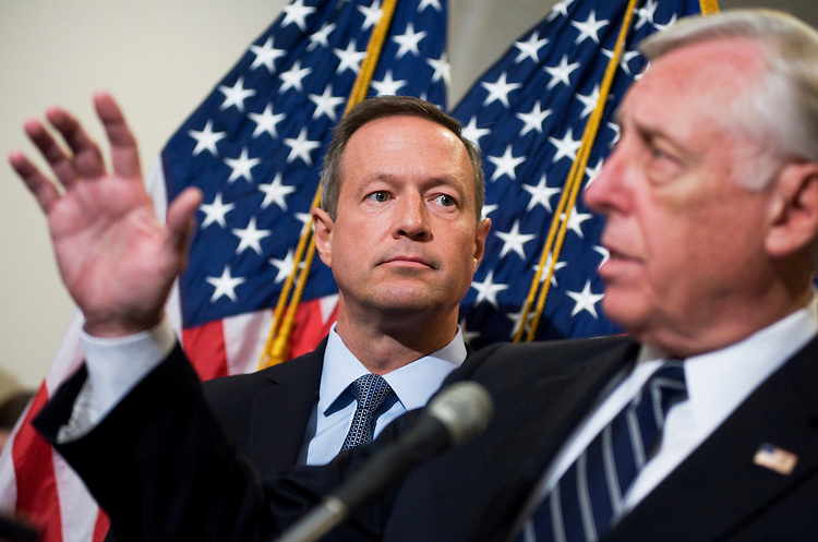 UNITED STATES - JULY 21:  House Minority Whip Steny Hoyer, D-Md., right, and Gov. Martin O'Malley, D-Md., conduct a news conference after a Democratic Whip meeting in the Capitol Visitor Center on the need to reach an agreement on debt reduction.   (Photo By Tom Williams/Roll Call)